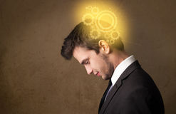 Young person thinking with a machine head illustration Royalty Free Stock Image