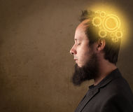 Young person thinking with a machine head illustration Royalty Free Stock Photography