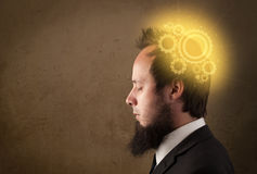 Young person thinking with a machine head illustration Stock Image