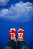 Young Person Walking On Clouds Stock Photography