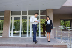 Young perspective people, international students, go to meet eac Royalty Free Stock Photography