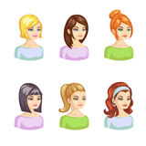 Young pertty woman cartoon avatars set with various hairstyles. Vector illustration Royalty Free Stock Photos