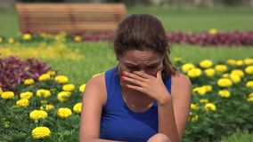 Sad Young Hispanic Woman Crying. A young Peruvian adult female stock video footage