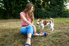 Cute girl is playing with her dog in the park. Young pet dog breeds beagle walking in park outdoors. woman carefully walks puppy, plays and trains, sits with pet stock images