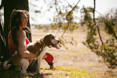 Young pet dog breeds beagle walking in the park outdoors. Young pet dog breeds beagle walking in park outdoors. woman carefully walks puppy, plays and Royalty Free Stock Photography
