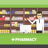 Young pharmacy chemist man standing in drugstore. Vector flat illustrations. Young pharmacy chemist man standing in drugstore. Vector flat design illustrations royalty free illustration