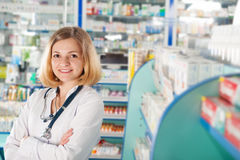 Young pharmcist in drugstore Royalty Free Stock Photo