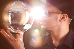 Young philippino man with disco bowl Stock Photo