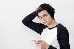 Young with the phone mobile. Portrait of young with the phone mobile in style modern Royalty Free Stock Image