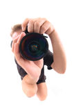 Young photographer. Isolated on the white background Stock Photography