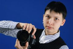 Young photographer. Portrait of an young photographer Stock Images