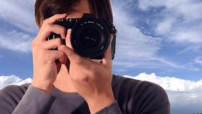 Young photographer stock footage