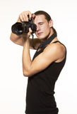 Young photographer with camera Stock Image