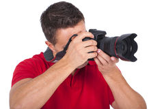 Young photographer with a camera Royalty Free Stock Image