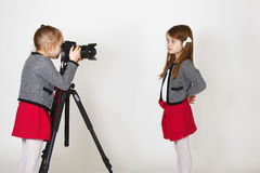 Young photographer with digital camera Royalty Free Stock Photos