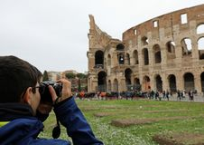Young photographer with eye glasses in Rome stock images