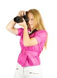 Young photographer girl Royalty Free Stock Images