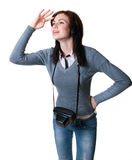 Young photographer girl Stock Images