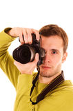 Young photographer isolated on white. Young photographer (isolated on white stock image