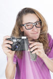 Young photographer nerd Stock Photo