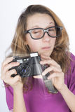 Young photographer nerd Royalty Free Stock Photography