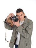 Young photographer with retro film camera Royalty Free Stock Photo