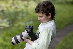 Young Photographer's Joy Stock Image
