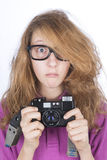 Young photographer shocked Stock Image