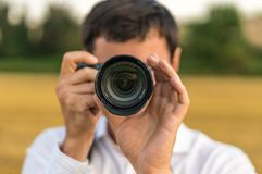 Young photographer take photo of nature Royalty Free Stock Photos