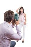 Young photographer taking photos of beautiful Stock Image