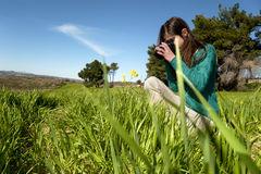 Young photographer taking pictures outdoors Stock Image