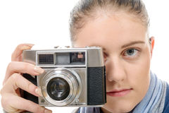 Young photographer woman with a vintage camera Royalty Free Stock Images