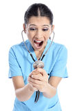 Young physician shouting Royalty Free Stock Image