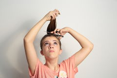 Young pigtailed Stock Photo