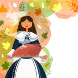 Young pilgrim girl for Happy Thanksgiving Day. Beautiful young girl dressed as a pilgrim, serving hot cooked chicken on autumn leaves decorated colorful Royalty Free Stock Photo