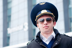 Young pilot in Kastrup airport Stock Images