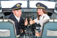 Young Pilots in Fly Simulator Stock Images