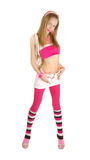 Young Pink Blonde Isolated White Stock Image