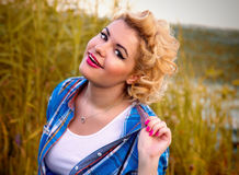 Young pinup woman Royalty Free Stock Images
