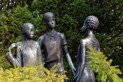 Young Pioneers. Sculpture of pioneers in Erfurt, Germany Stock Photos