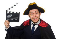 Young pirate holding clapperboard isolated on Stock Photography