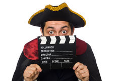Young pirate holding clapperboard isolated on Stock Images