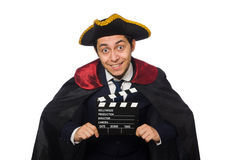 Young pirate holding clapperboard Stock Images