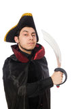 Young pirate holding sword isolated on white Royalty Free Stock Image