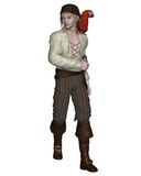 Young Pirate with Parrot. Young pirate with a parrot on his shoulder, 3d digitally rendered illustration Stock Photo