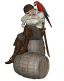 Young Pirate Sitting on a Barrel. With a parrot on his shoulder, 3d digitally rendered illustration Royalty Free Stock Photos