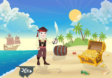 Young pirate and treasure Island. Vector background vector illustration