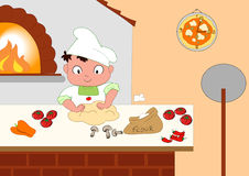 Young pizza maker. Cute young pizza maker in his kitchen. Vector illustration Royalty Free Stock Photo