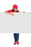 Young Pizza Woman Presenting Banner. Isolated On White Royalty Free Stock Photo