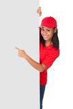 Young Pizza Woman Presenting Banner. Isolated On White Royalty Free Stock Photos